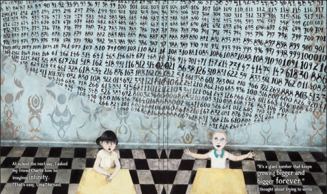 Interior illus by Gabi Swiatkowska from Infinity and Me by Kate Hosford_numbers