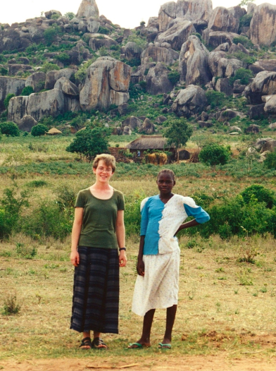 Katie with her friend Modesta in Tanzania.
