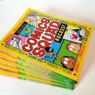 stack of comic squad books