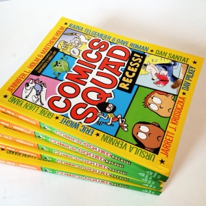 stack of comic squad books