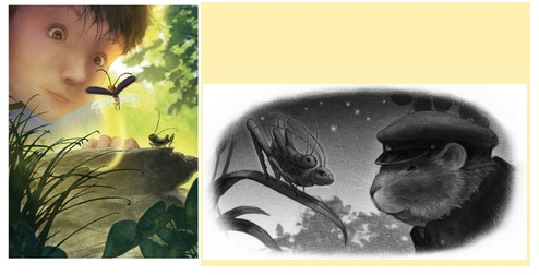 Some of the interior artwork from the book with the human and animal characters.