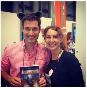 Alex London and his editor, Jill Santopolo, embracing the animal characters by wearing Kit & Eenie ears.