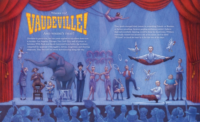 Before The Nutcracker, before Filling Station, the Christensen brothers took their act to vaudeville. Illustration by Cathy Gendron.