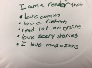 On the back of his plate, a fifth grade student reflects on the big ideas he has developed after filling the front of his plate.