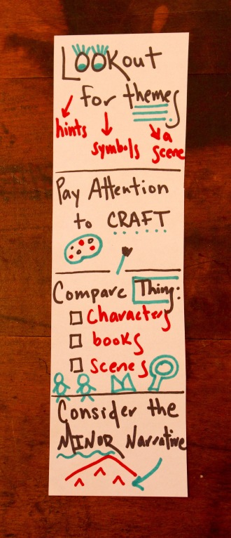 An example of a bookmark that rallies and reminds students of the work they're trying as they read and work independently.