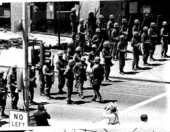 The National Guard outside of Cody's 1969